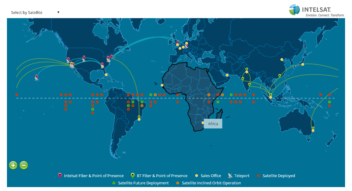 Intelsat World Map that features connecting lines between specific