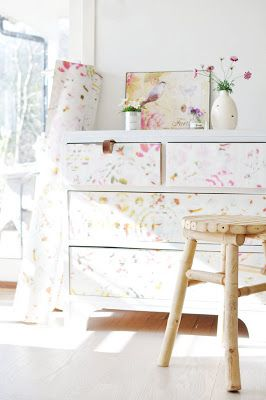 An old dresser and some new wallpaper