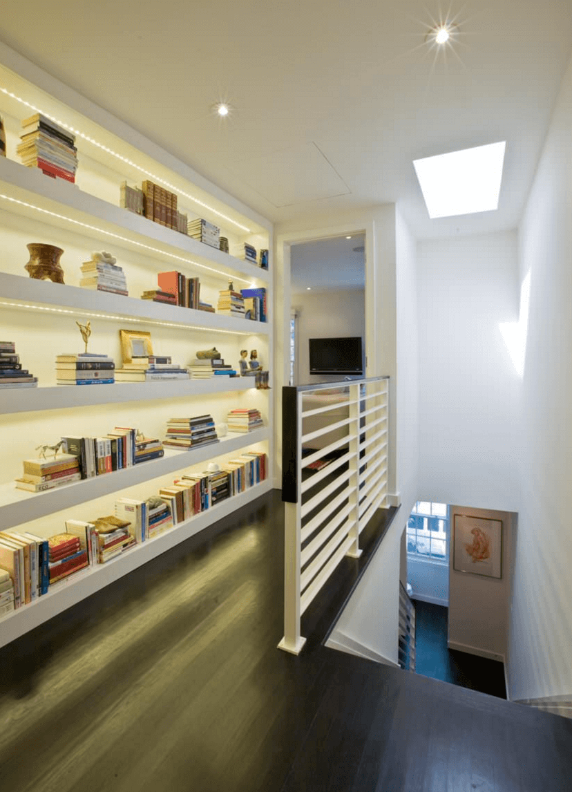 Illuminated Hallway Bookshelf