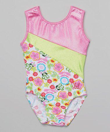 Another great find on #zulily! Lime & Hot Pink Flower Eden Leotard - Toddler & Girls #zulilyfinds