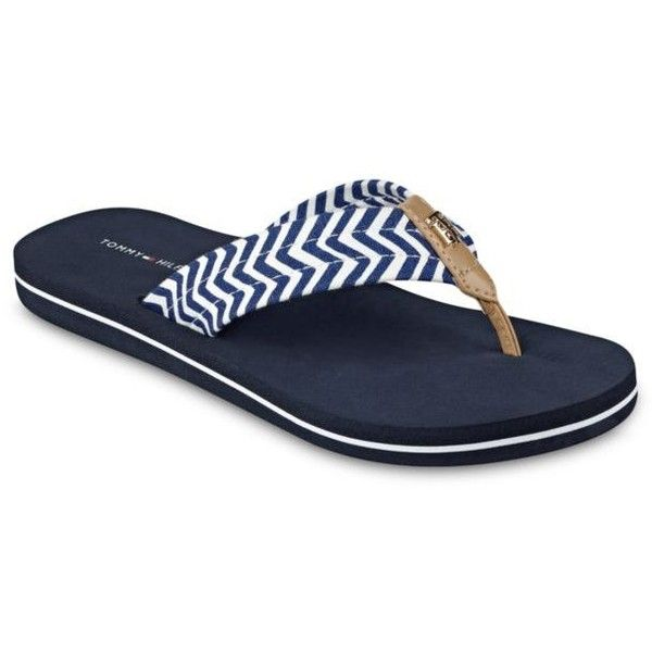 eb8cfd67af74a2 Tommy Hilfiger Medium Blue Chill Chevron Flip Flops - Women s ( 20) ❤ liked  on