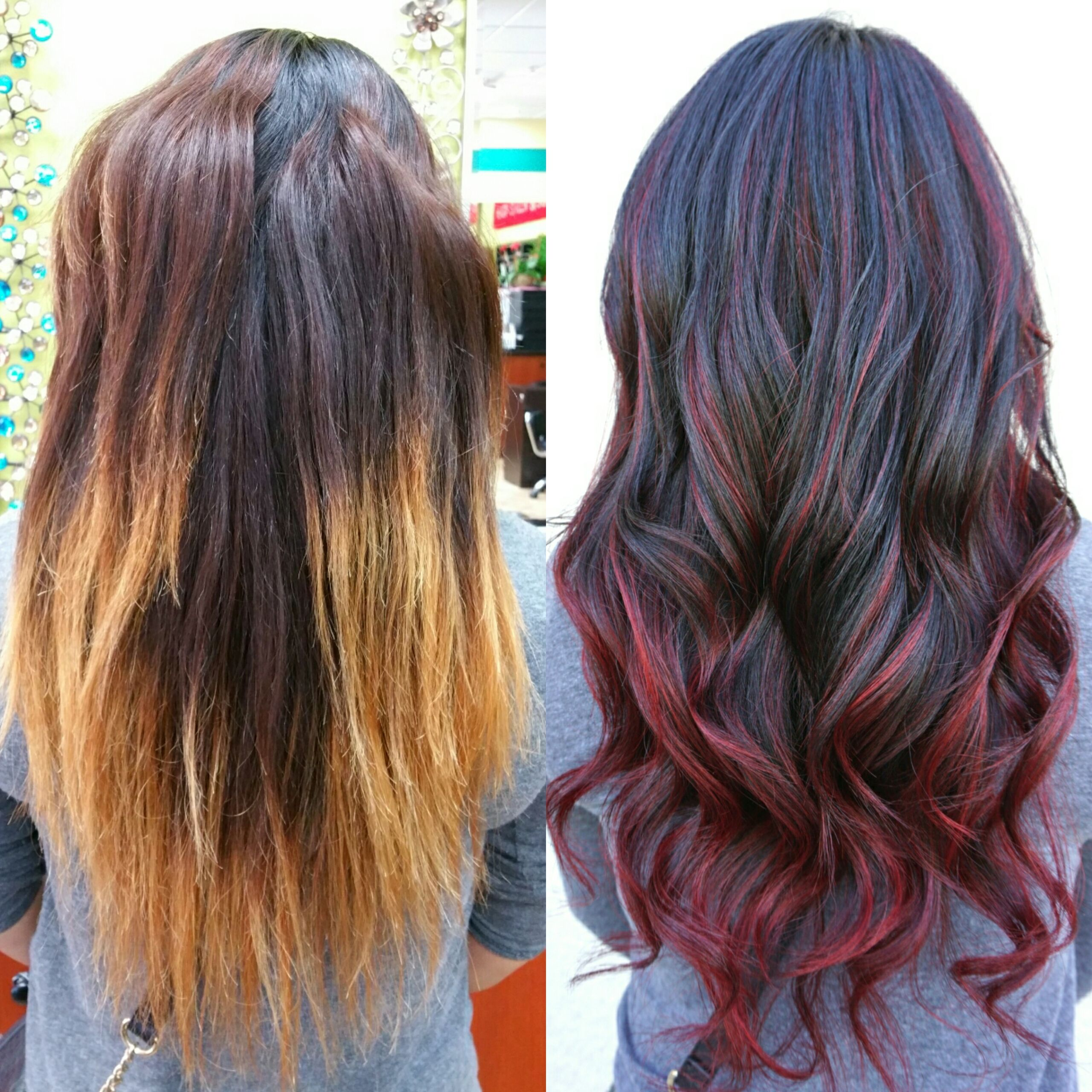 Correction Ombre To Red Sombre Career Ombre Hair Streaks And