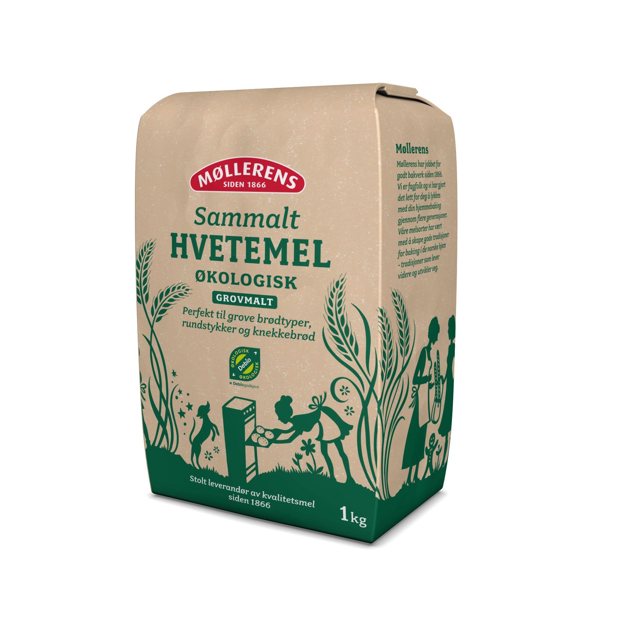 Møllerens Økologisk Sammalt Hvetemel flour packaging emballasje GRID design Kate Forrester
