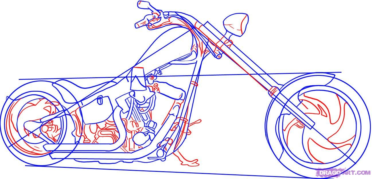 how to draw a chopper motorcycle step 4