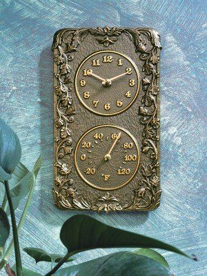 Acnathus Thermometer And Clock Combo Fr Bronze Outdoor Clocks Patio Lawn Garden
