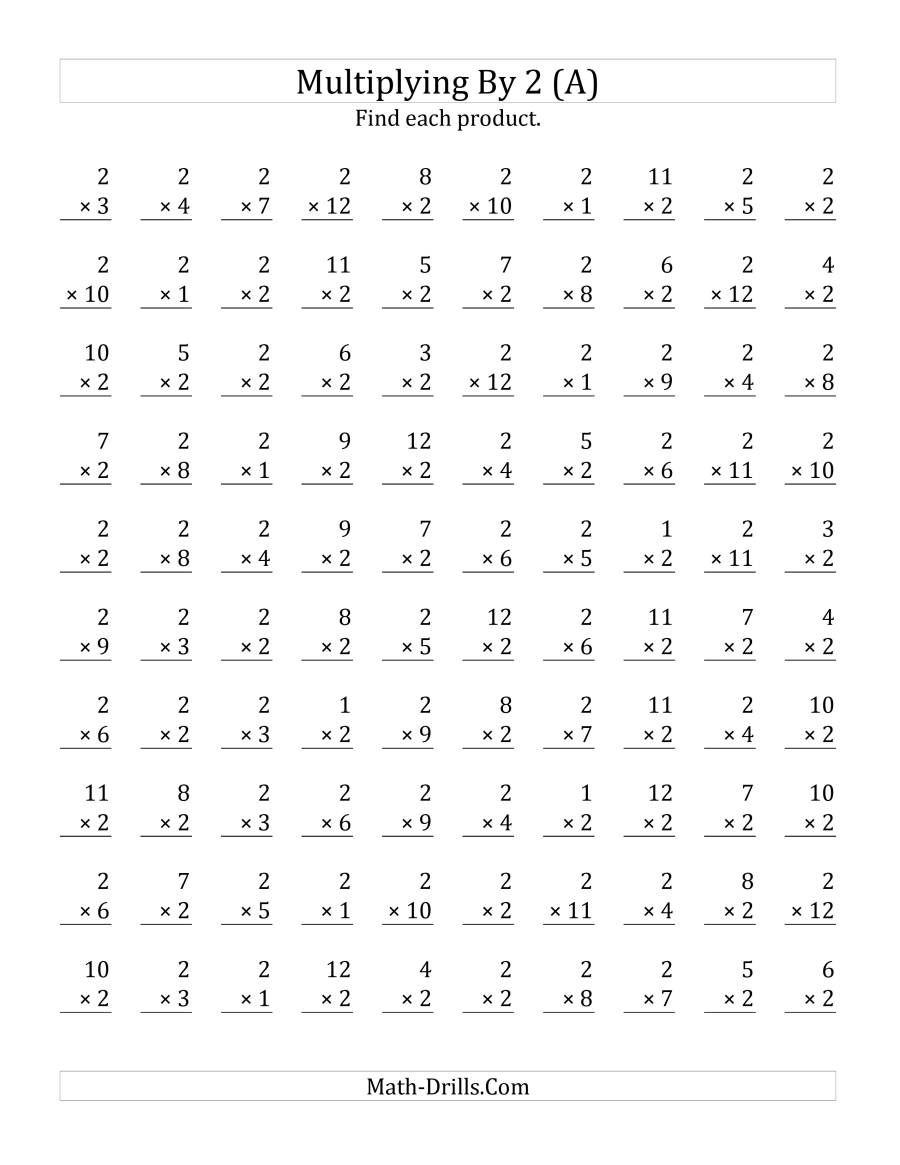 The Multiplying 1 to 12 by 2 (A) Math Worksheet from the Multiplication  Work…   Math multiplication worksheets [ 1165 x 900 Pixel ]