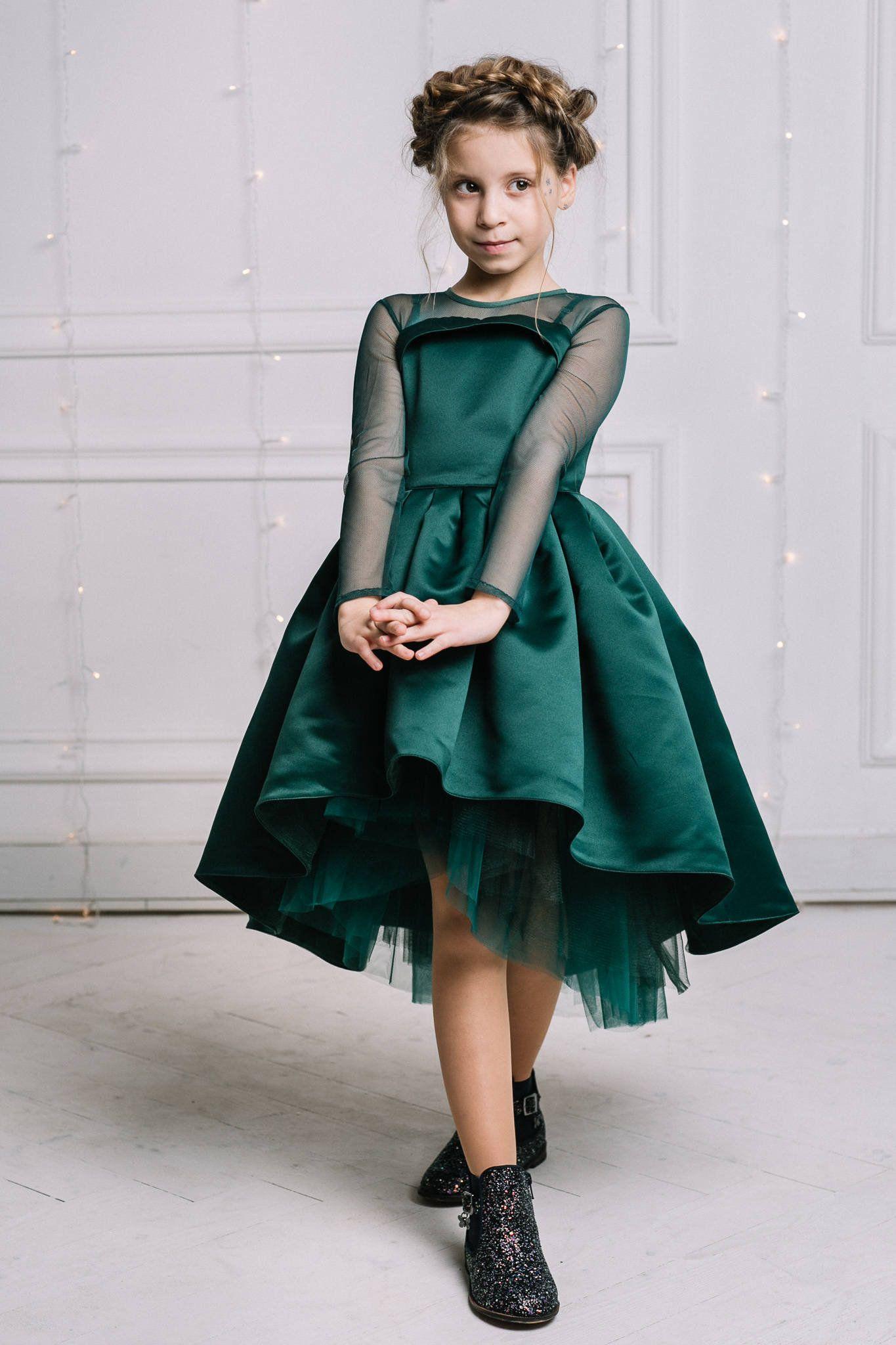Emerald flower girl dress, Green (emerald) Girl Dress