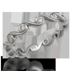 Diamond Swirl Wedding Band - This elegant wedding band has repeating organic lines. Originally designed with the Mokume Swirl Three Stone Engagement Ring. Ideal cut accent diamonds.