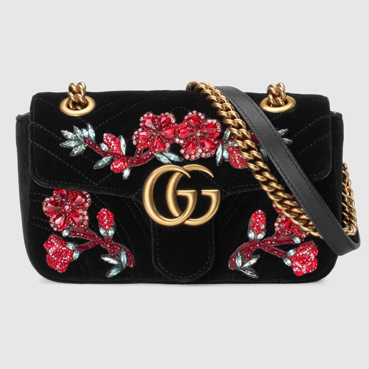 8aa817179e GUCCI GG Marmont embroidered velvet mini bag - black chevron velvet ...