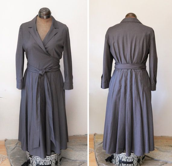 Women's Grey Wrap Dress / Jones New York / by LesSoeursVintage