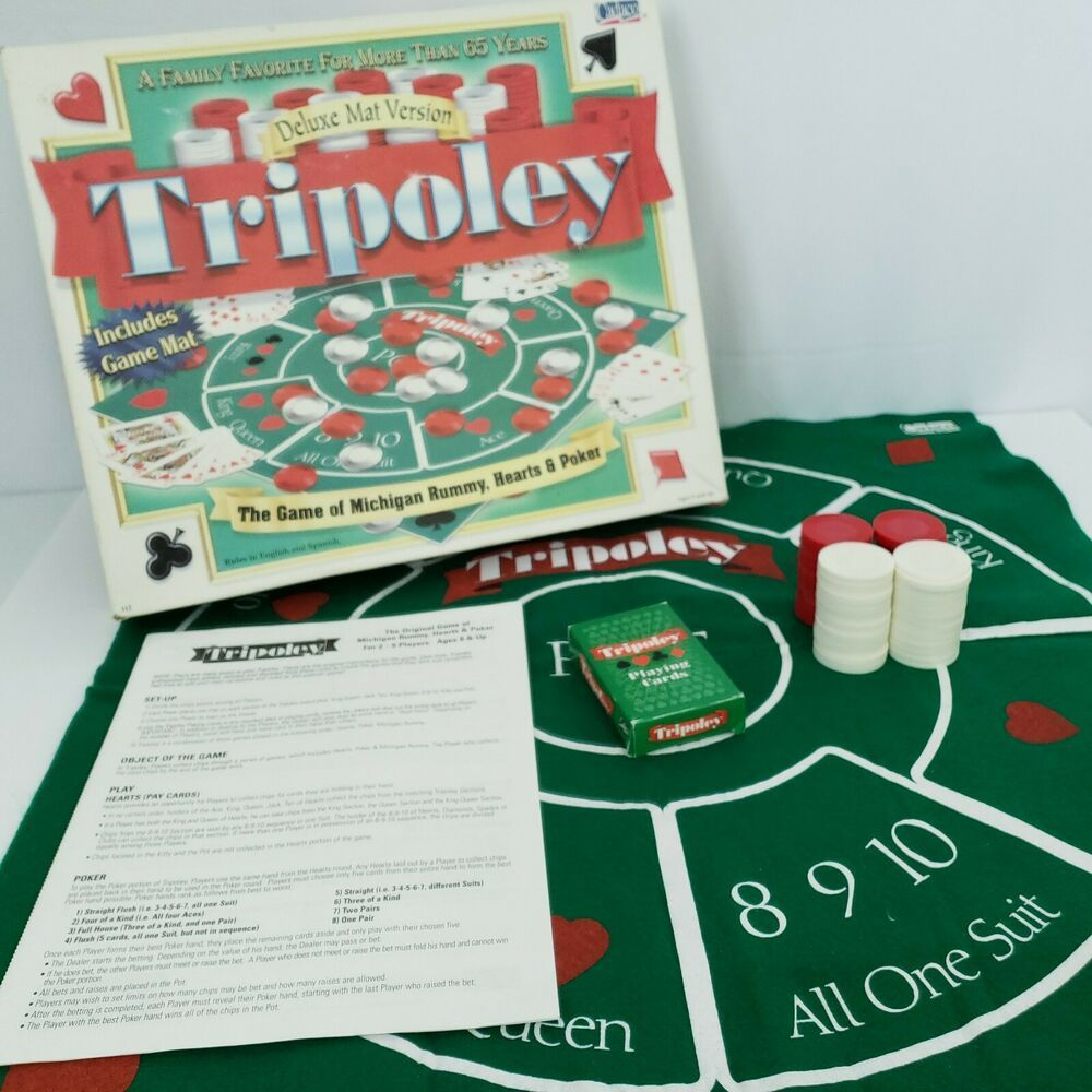 Tripoley Board Game Deluxe Mat Version Cadaco 29 Players