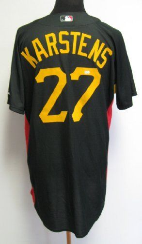 2009 Pittsburgh Pirates Jeff Karstens #27 Game Used Black BP Jersey . $82.99. 2009 Pittsburgh Pirates Jeff Karstens #27Game Used Black Batting Practice JerseyGreat Game Used Jersey- Size 46 -Ideal for ResaleGreat Display Item for Any Pirates FanThis Jersey has been authenticated byMLB.COM as Game UsedMLB.COM Cert: LH648687Majestic Cool Base Brand
