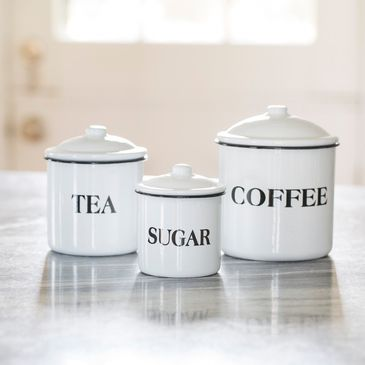 Coffee Tea and Sugar Enamelware Canisters