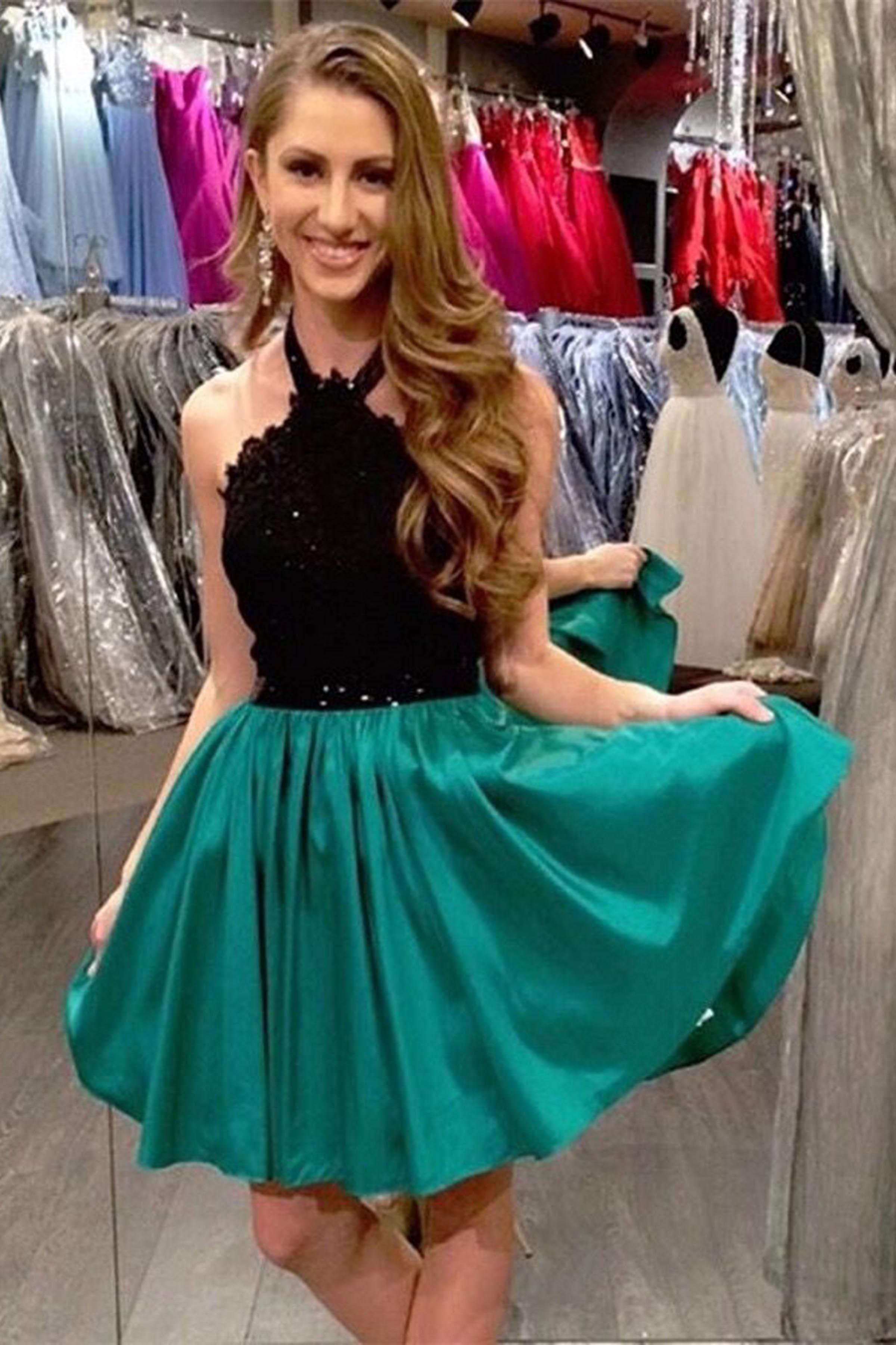 cute green chiffon prom dress homecoming party dress halter dress