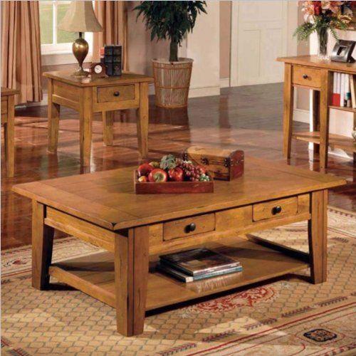 Oak Steve Silver Liberty Rectangular Wood Coffee Table by Steve