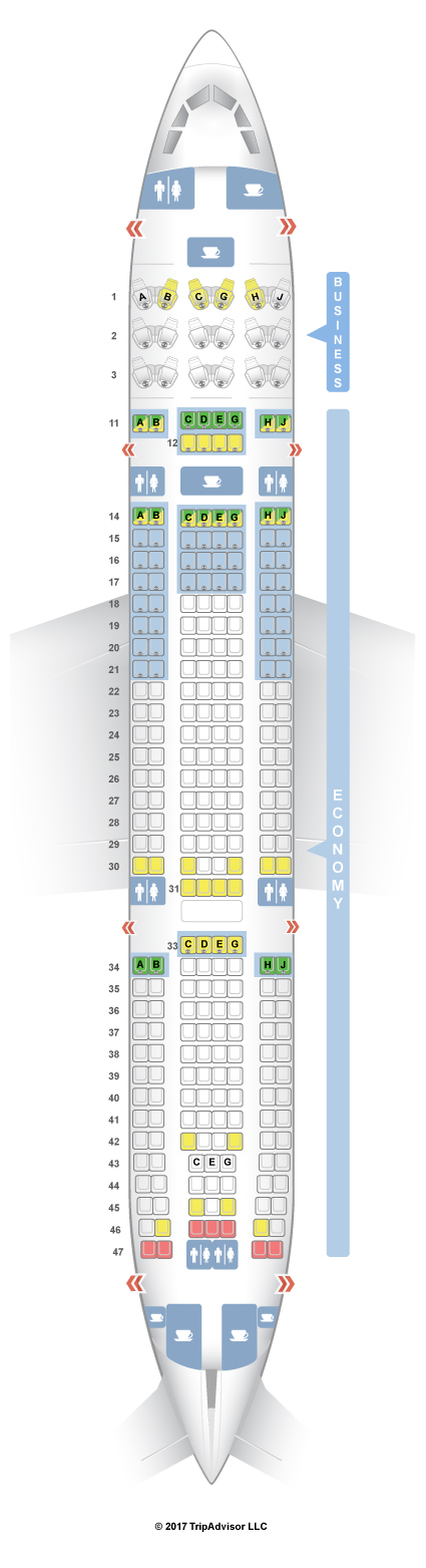 SeatGuru Seat Map Hawaiian Airlines Airbus A330-200 (332) V2