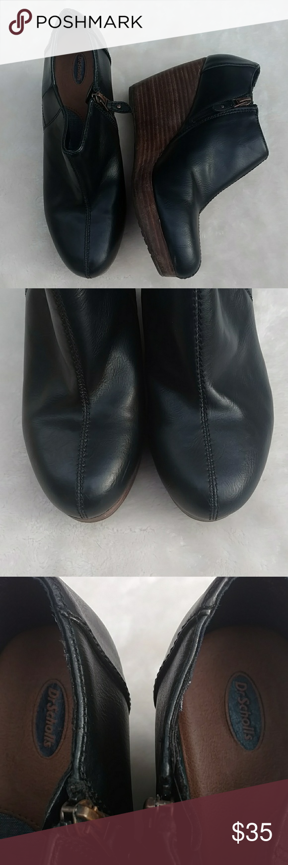 7c938ff44f3 Dr. Scholl s Harlie Wedge Ankle Booties Excellent preowned condition vegan  black leather Harlie wedge ankle