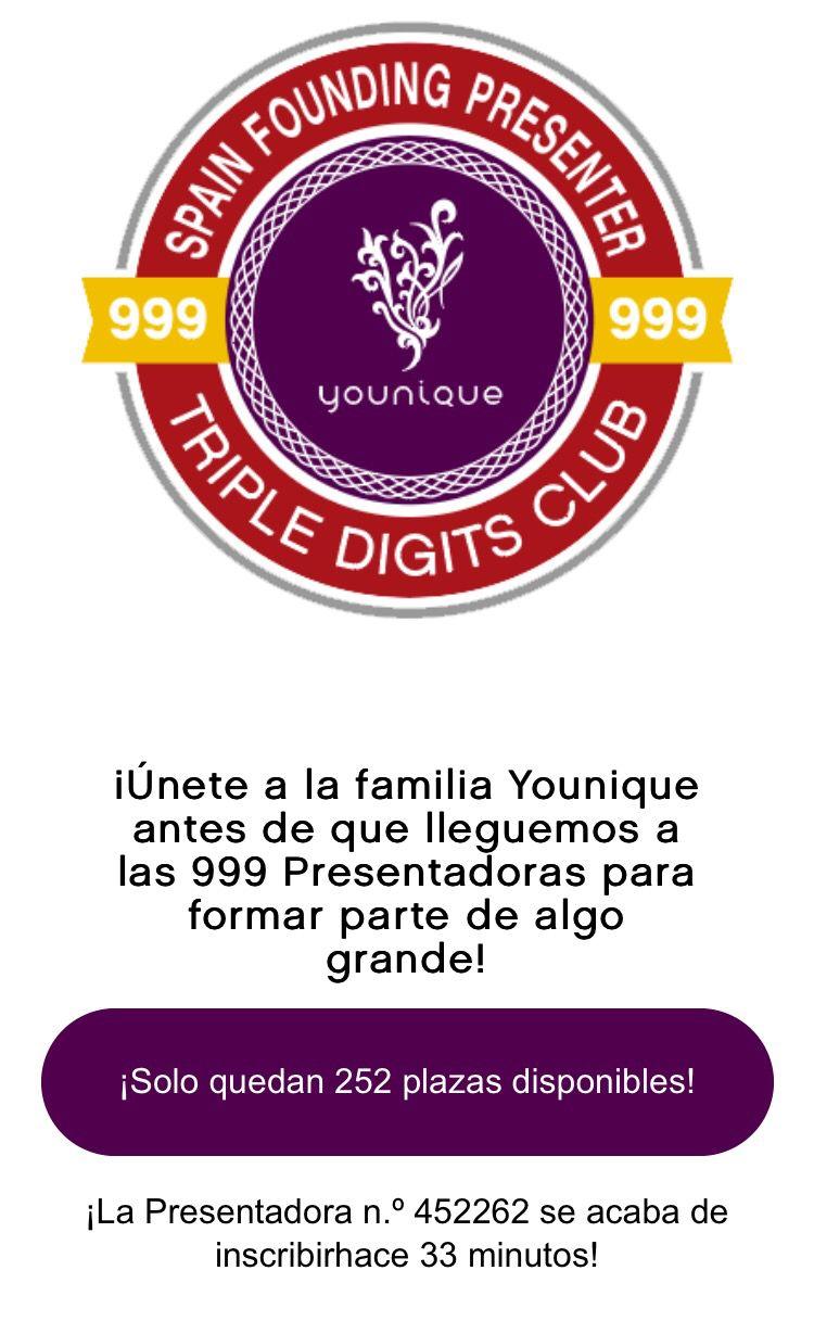 Bellezas. Si deseas inscríbirte recuerda que podrás ser una de las primeras 999 en inscríbirte en España!!! Sólo quedan 252 plazas...no se pierdan estan gran oportunidad♥️ #younique #españa #maquillaje