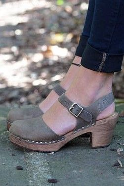 Swedish Clogs Highwood Taupe Brown Base Sole Leather by Lotta from  Stockholm / Wooden Clogs /