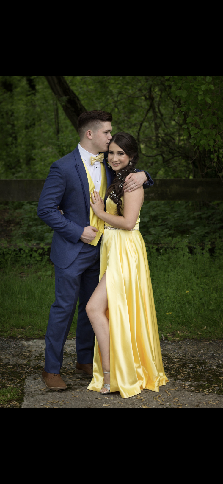 Yellow Gown And Blue Tux Formal Prom Dresses Yellow Navy Blue Prom Dresses Yellow Prom Suit [ 1624 x 750 Pixel ]