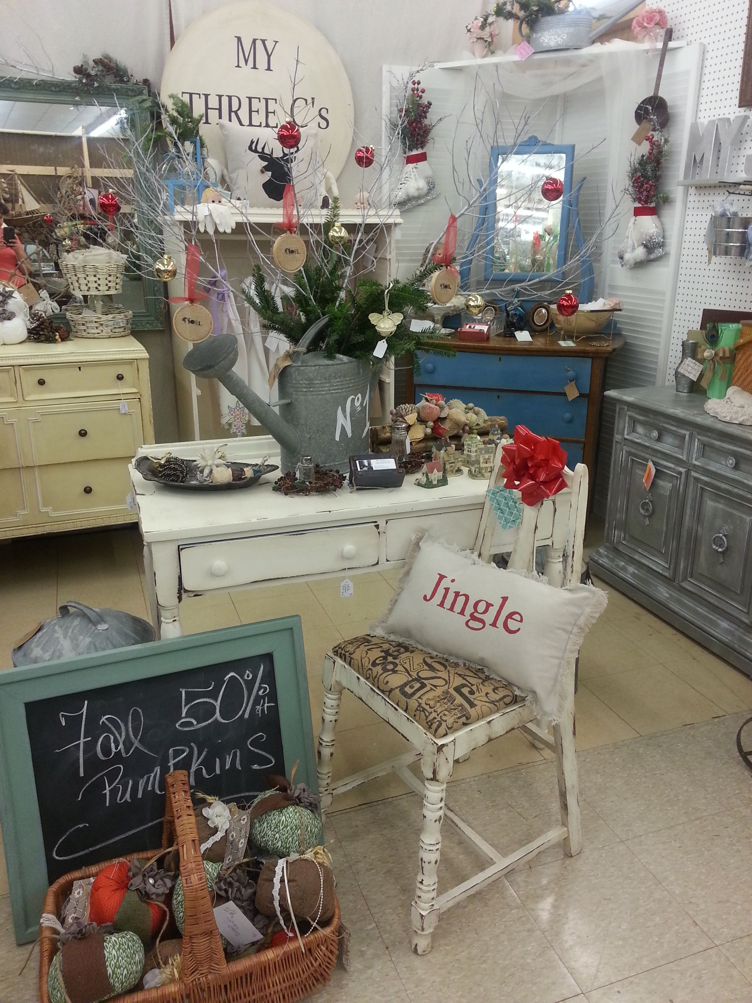 Distressed and Antiqued White Desk. Wildwood Antique Mall