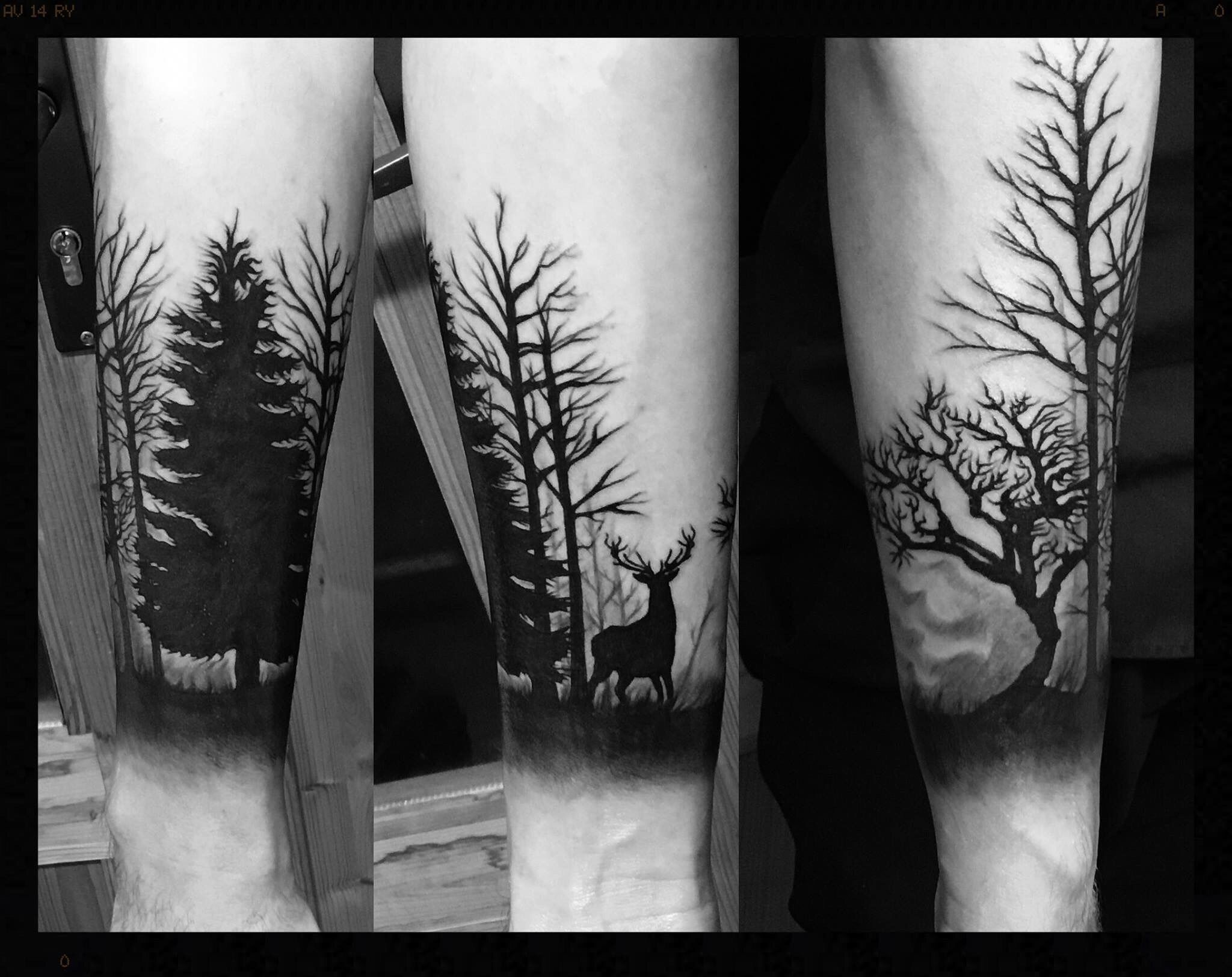 Freehand forest tattoo plete with a stag Tattoos