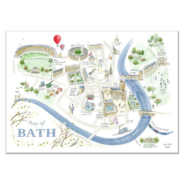 Alice Tait Map of Bath Print in 2019 Map love