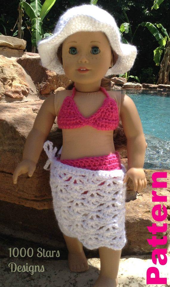 American girl doll crochet Pattern for swimsuit bikini for 18\