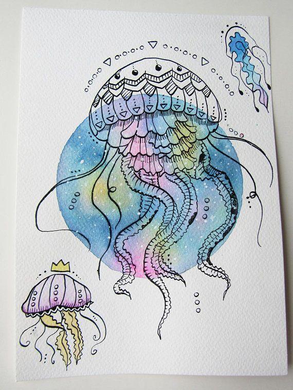 Dessin / illustration méduses graphiques à l'encre de ...