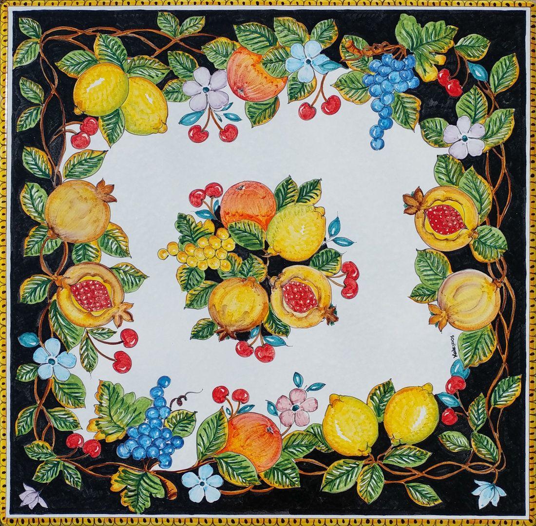 Piastrelle Decorative Per Tavoli piano per tavolo frutta vietri noir 100x100 cm | piastrelle