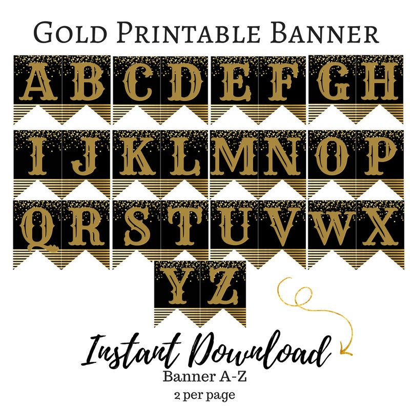 gold new year printable banner a z by miasoffice on etsy