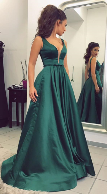 4168246269 Dark Green Prom Dress