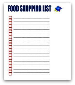 Graduation party food shopping list
