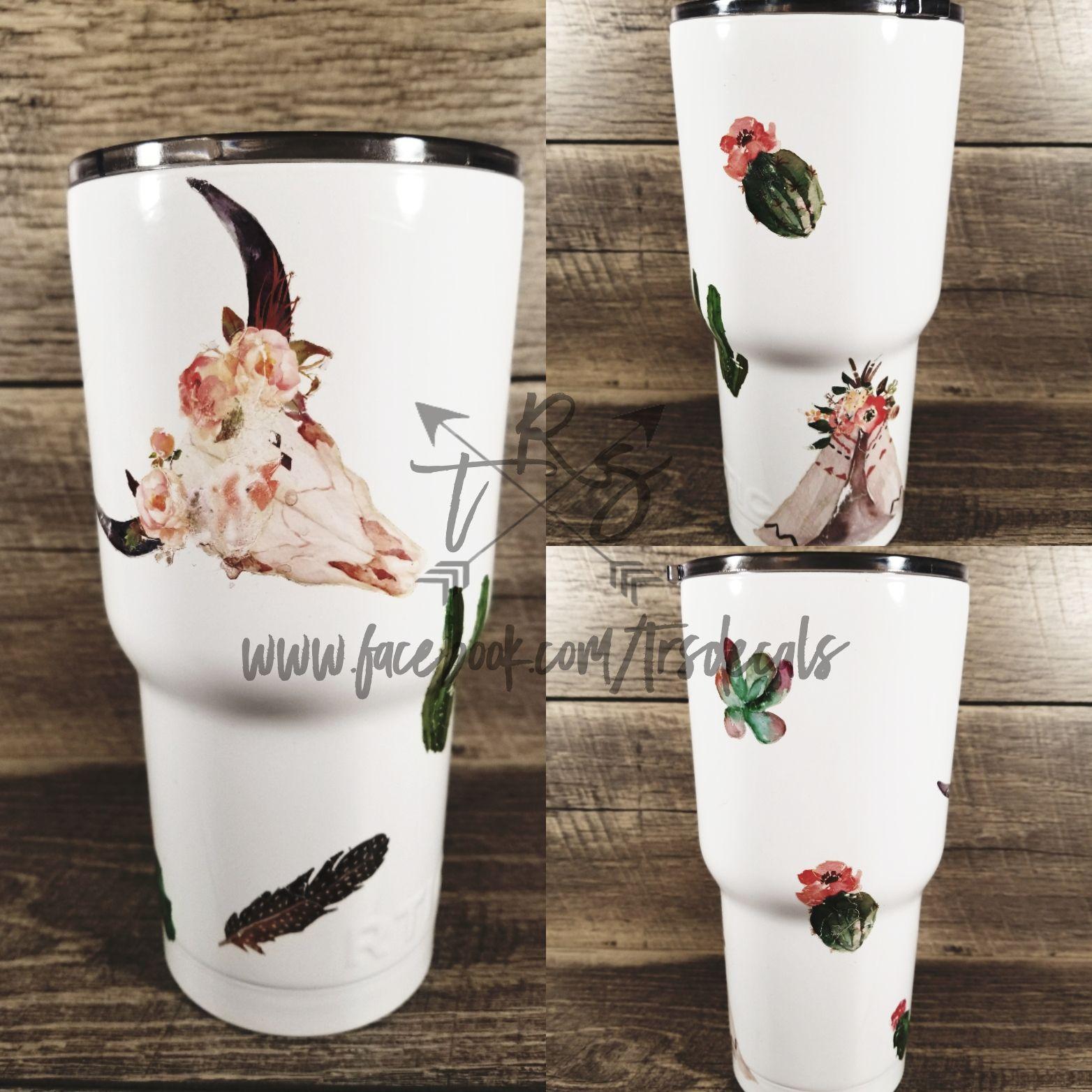 Custom Yeti Rtic Ozark Powder Coated Tumbler Boho Chic Cactus Yeti Cup Designs Powder Coated Tumblers Tumbler Cups Diy