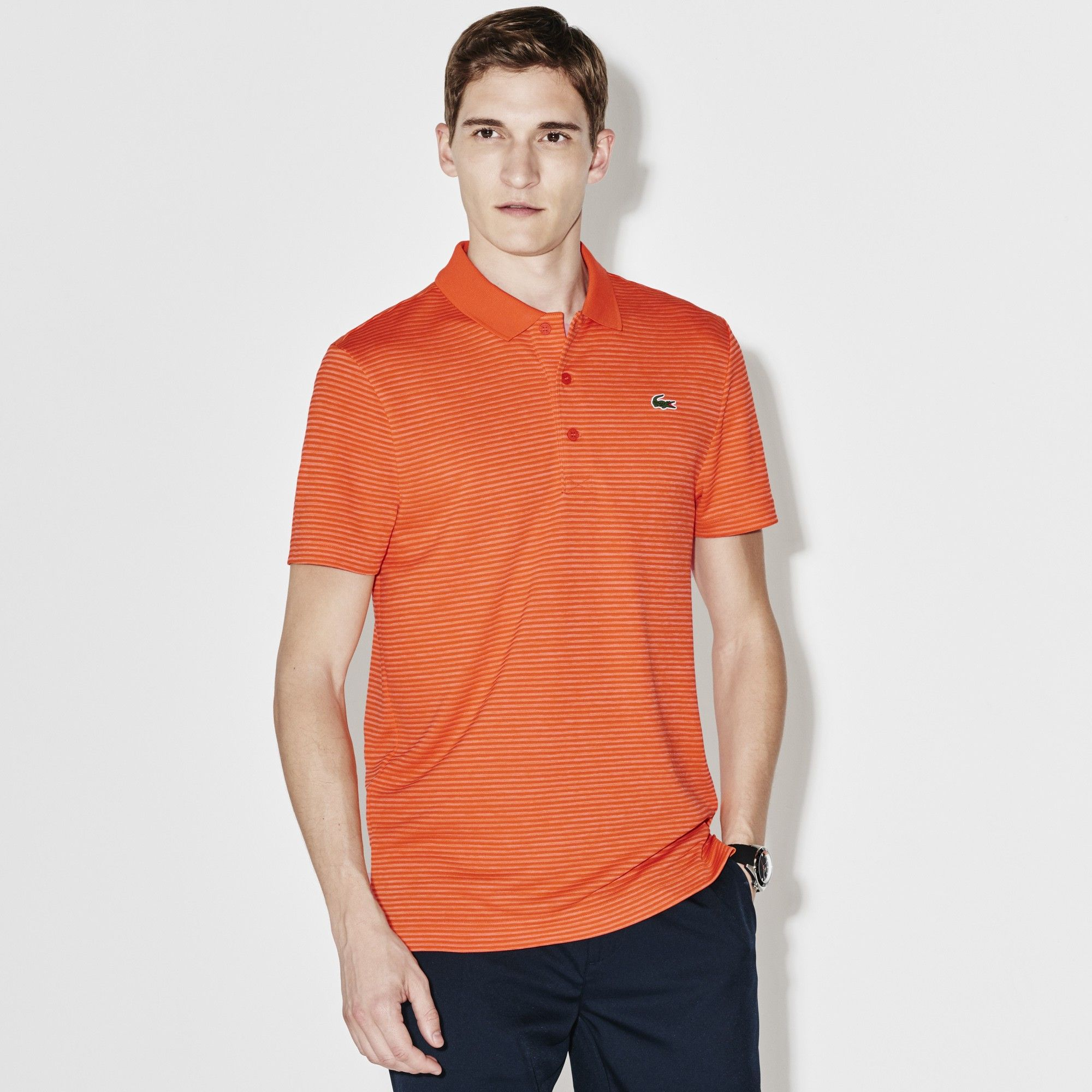 8769f47a47 LACOSTE Men's SPORT Golf Striped Tech Jersey Polo - mexico red ...