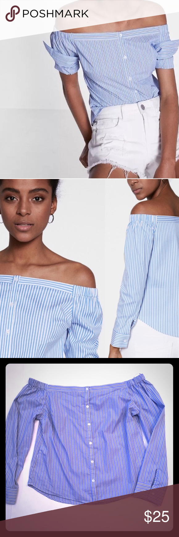 301f03b0ed2 Express | Striped off the shoulder blouse Express striped blue and white off  the shoulder long