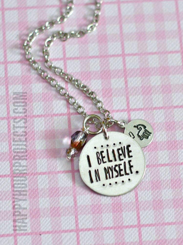 I believe in myself stamped unicorn necklace design your own i believe in myself stamped unicorn necklace design your own custom jewelry stamp happyhourprojects aloadofball Choice Image