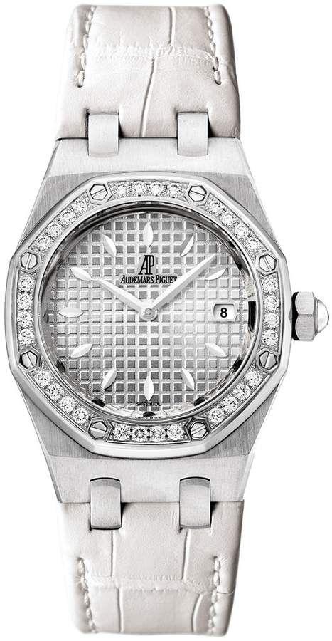 44b5e19e618 Audemars Piguet Royal Oak Diamond Silver Dial Stainless Steel Ladies Watch