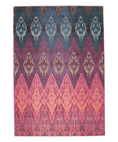 Another great find on #zulily! Pink & Blue Ikat Gradient Rug ...