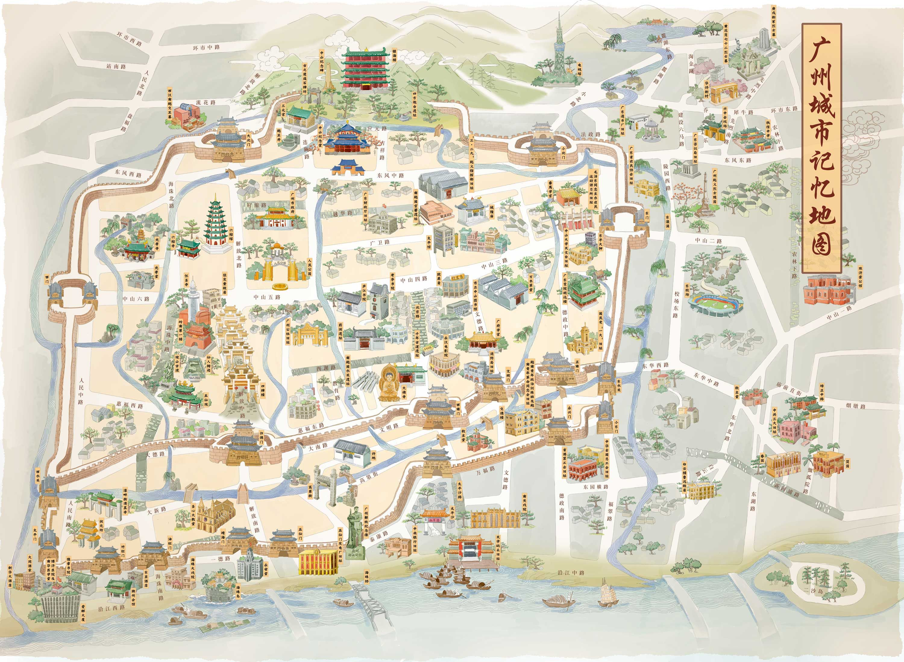 my work of map of Old Canton City China with walls 18 Gates and 6