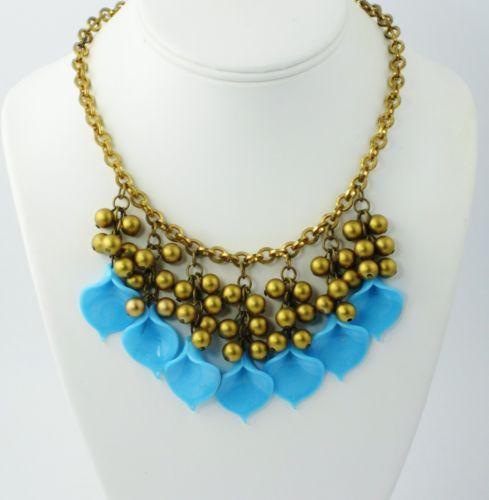 Art Deco Bohemian Glass Flower Fringe Necklace Blue Antique Venetian Vtg | eBay