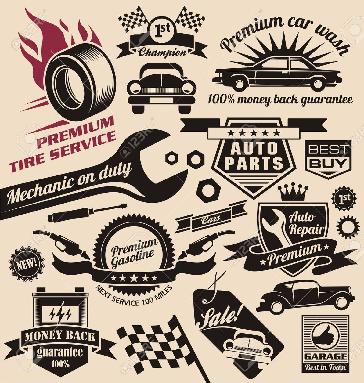 Design car emblem - Car Service And Car Sale Retro Labels And Icons Vintage Collection Of Car Related Signs And Symbols With Various Design Elements Ribbons And Emblems