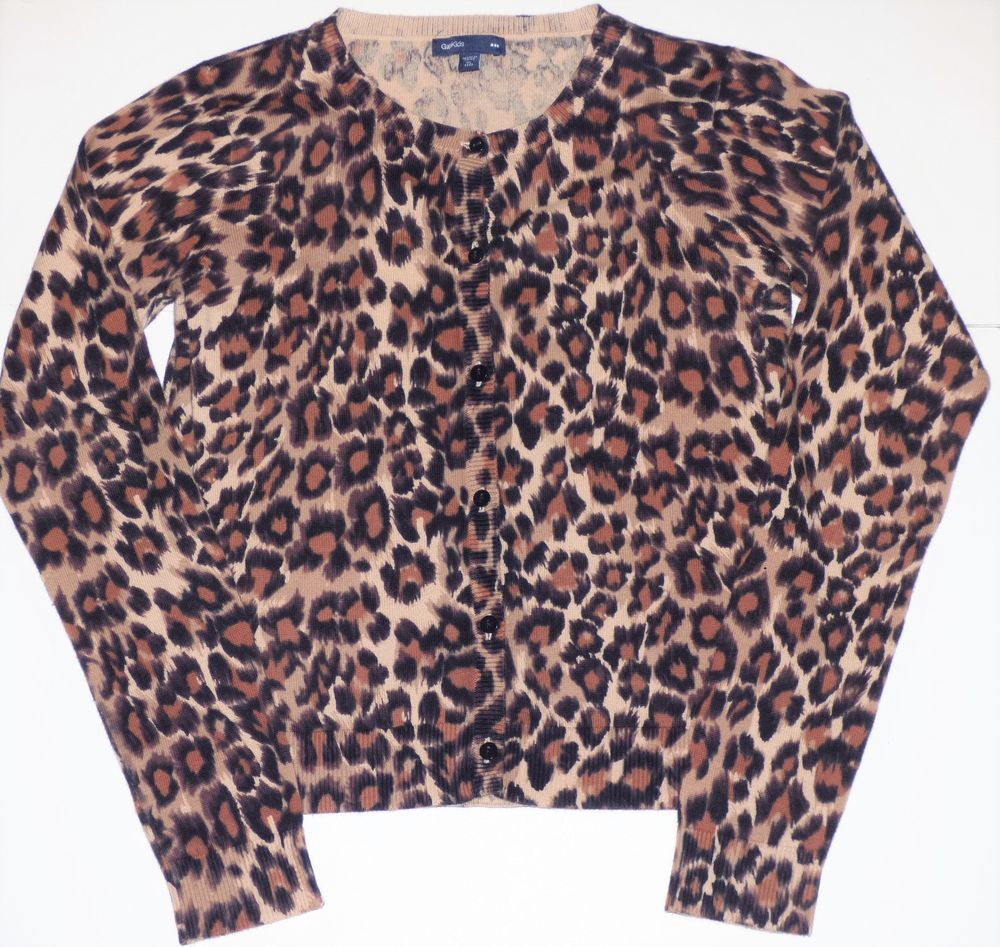Gap Kids Brown Leopard Cheetah Animal Print Button Cardigan ...