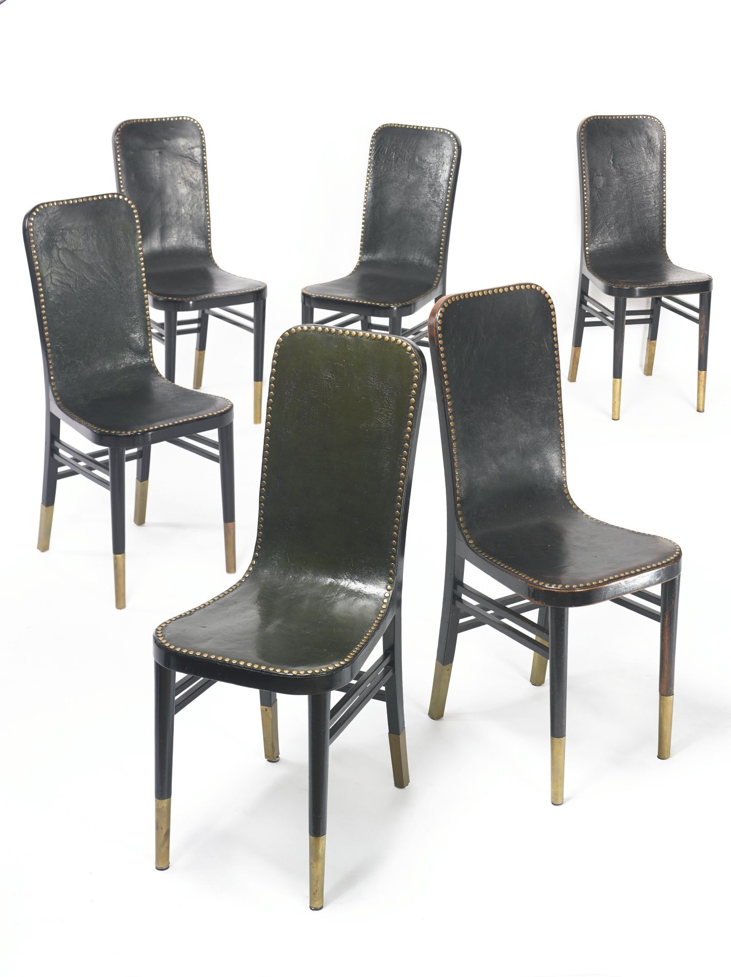 Josef Urban Lacquered Wood Brass and Leather Dining Chairs for