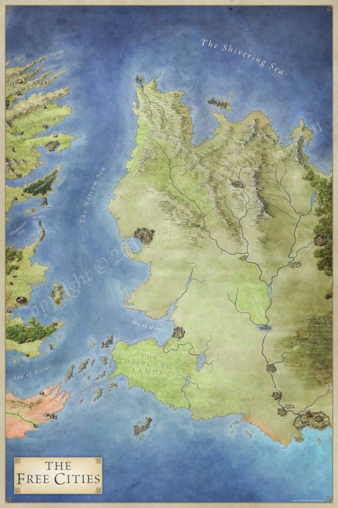 The Free Cities map for Game of Thrones City maps Gaming and