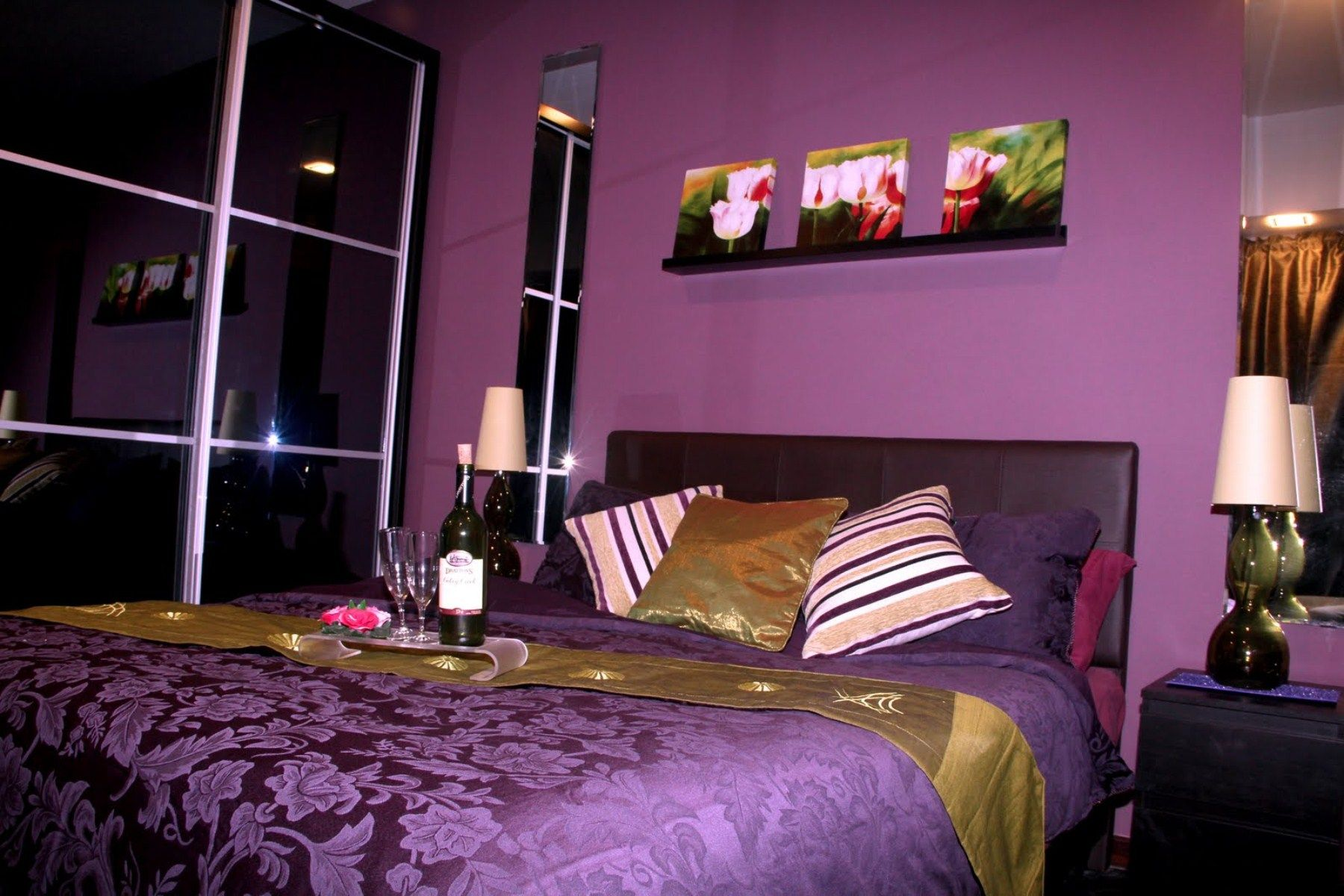 Bedroom Romantic Purple Bedroom Ideas For Valentine Days With Black