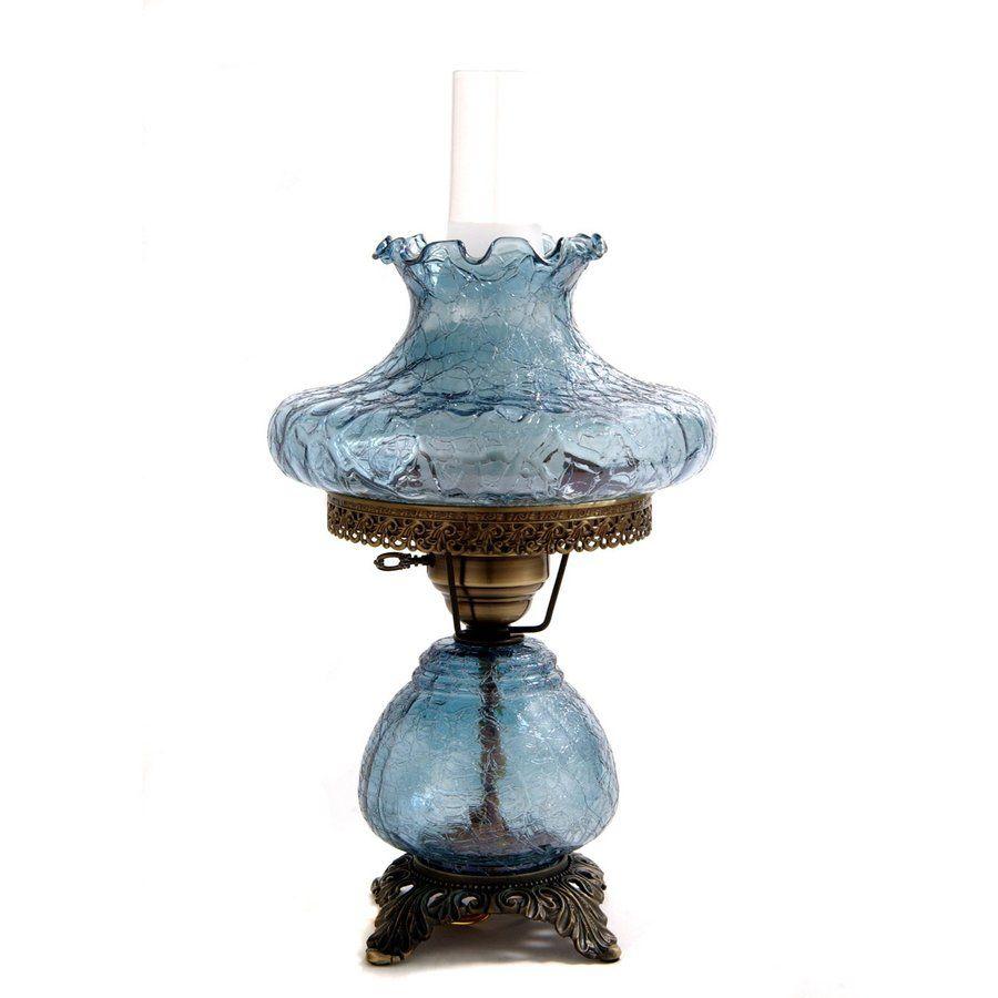 Victorian night lamps - Blue Crackle Tamoshanta Night Light Hurricane Table Lamp
