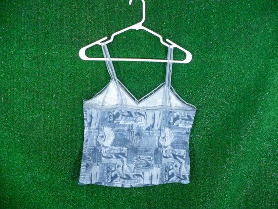 Faux Denim Jean Pocket Sheer Cropped Tank Top by badatpettingcats, $16.00