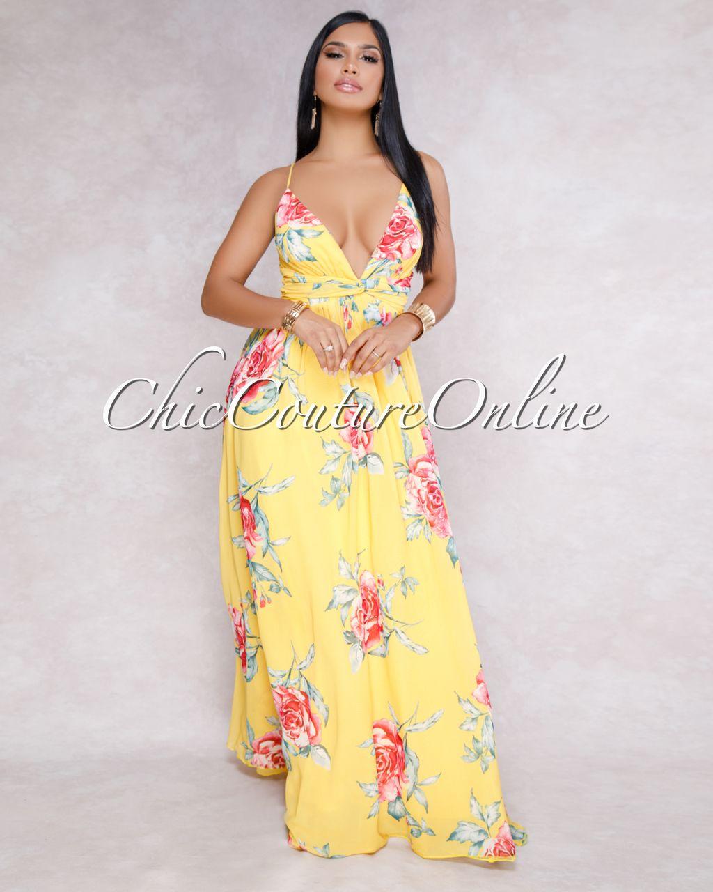 1897669d5ce Chic Couture Online - St-Tropez Yellow Multi-Color Floral Maxi Dress,  $150.00