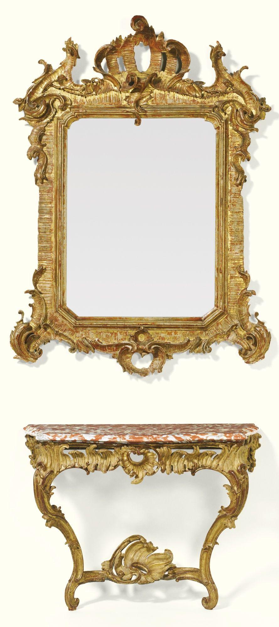Espejo italiano tallado de madera dorada c.1770 | Mirror mosaic ...